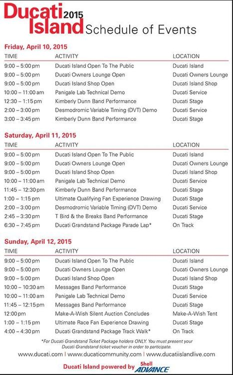 Ducati Island Schedule, COTA 2015 | Ductalk Ducati News | Scoop.it