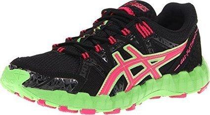 4add158620 ASICS Women's GEL-Fujitrainer 2 Running Shoe,Black/Pink/Green,7.5 M US