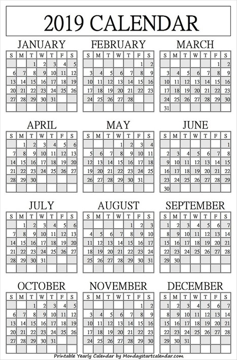 Mcps Calendar 2020 18.Yearly Calendar September 2018 To August 2019 Year Calendar 2019