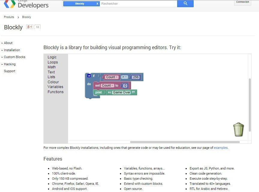 Blockly Google Developers Coding 21