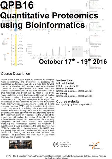 GTPB: QPB16 Quantitative Proteomics using Bioinformatics - Home | Bioinformatics Training | Scoop.it