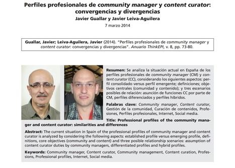 Perfiles profesionales de community manager y content curator: convergencias y divergencias por Javier Guallar y Javier Leiva-Aguilera | El Content Curator Semanal | Scoop.it