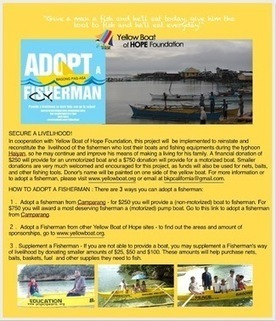 Adopt a Fisherman - help a family restore their livelihood for $250 and have your name or loved one inscribed on the boat. | Yellow Boat Social Entrepreneurism | Scoop.it