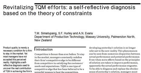 The Concept Epicenters of Lean, TQM, Six Sigma