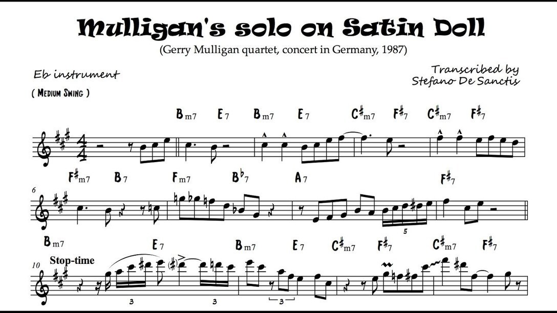 Gerry Mulligans Solo Transcription On Satin Do