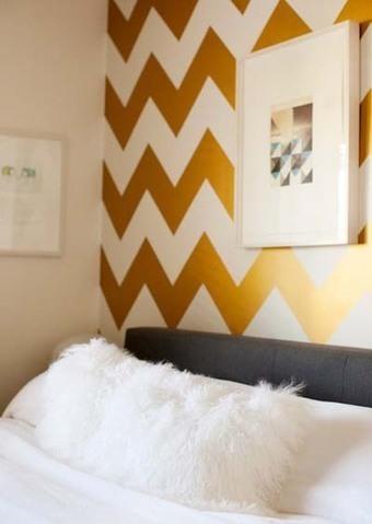 Dormitorios pintados en color oro. Elegantes, s...