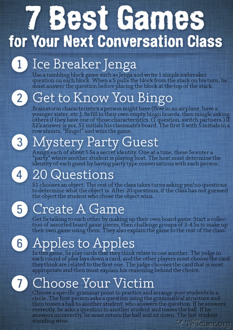 POSTER: 7 Best Games for Your Next Conversation Class | Learning technologies resources | Scoop.it