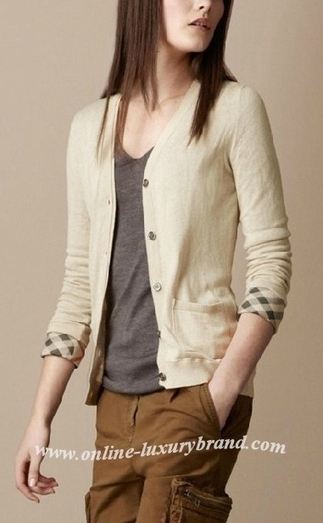 cheap burberry outlet online ieuj  Burberry Lady Check Cuff Cardigan Beige [B006237]