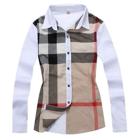 Checks Shirts Womens Long Sleeve Burberry White... fb80330866