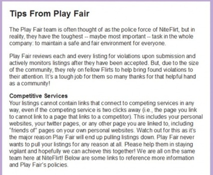 Is NiteFlirt Really Playing Fair With Their Latest Play Fair Linking Policy? | Sex Work | Scoop.it