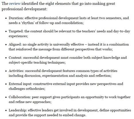 The Eight Components Of Great Professional Development | ICT | eLeadership | eSkills | Cool School Ideas | Scoop.it