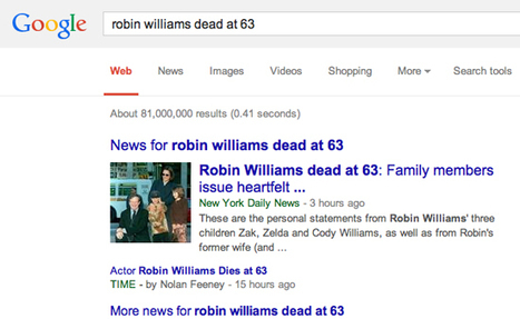 » New York Daily News memo: Thanks for keeping our Robin Williams stories SEO strong JIMROMENESKO.COM | The Search for Intelligent Search | Scoop.it