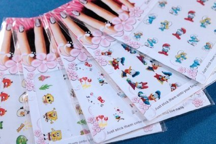 fun amp colorful popular character water nail tattoo stickers decals hello kitty smurf