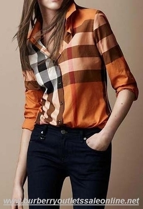 50787bad1661 Burberry Women Classic New Shirt Orange  B003769  -  95.00   Burberry Outlet  Stores