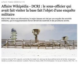 Arrêt sur images - DCRI/Wikipedia : un militaire mis en cause (LePoint.fr) | Intervalles | Scoop.it