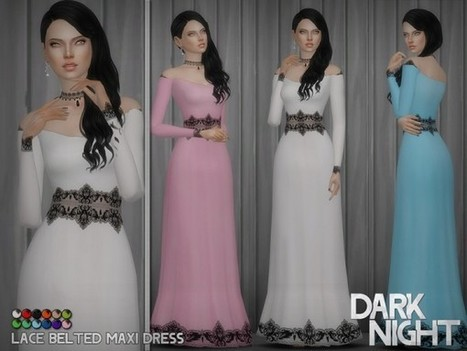 3f9a8b3295 The Sims Resource  Lace Belted Maxi Dress by DarkNighTt