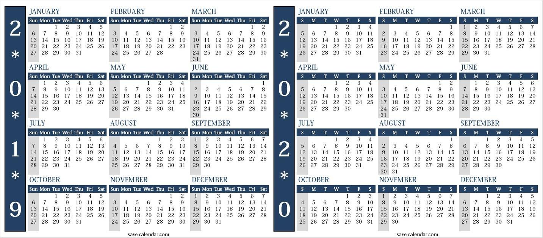 Free Printable Calendar 2019 And 2020