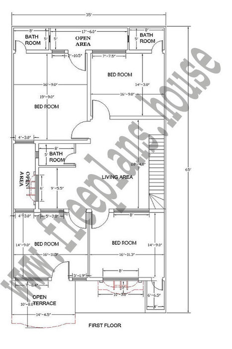 35×65 Feet /211 Square Meters House Plan   Houses Free Plans