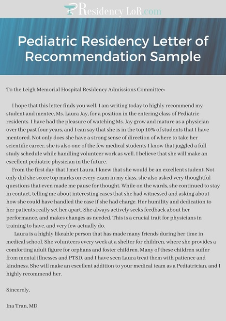 Eras Letter Of Recommendation Sample Residenc
