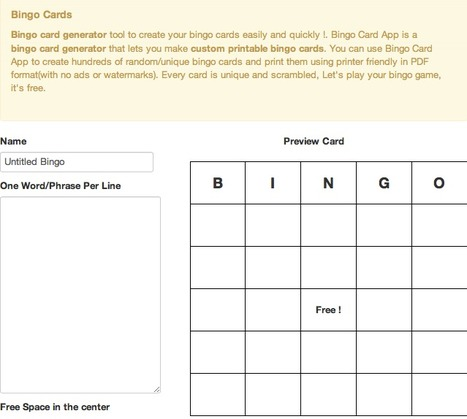 Bingo card generator - make and print your printable bingo cards | Customizing Teaching | Scoop.it