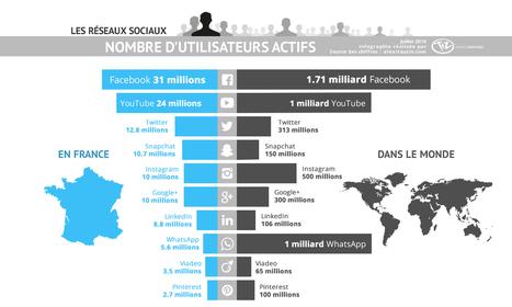 Chiffres des utilisateurs des réseaux sociaux en France et dans le monde en 2016 | Passionate about Social Media, Web 2.0, Employer and Personal Branding | Scoop.it