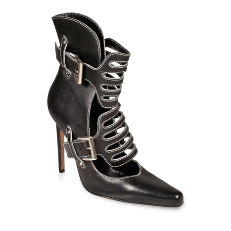 Manolo Blahnik Women s Buckle High-Heel Cut-Out Black Leather Booties w   White Stitching (MB1511) c0757d3620