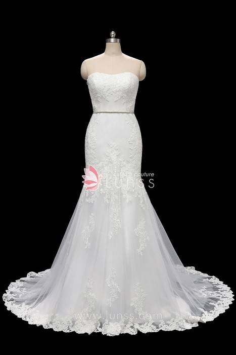 c9f343b1cd08 Ivory Strapless Lace Tulle Mermaid Wedding Dress with Detachable Rhinestone  Sash - Lunss Couture