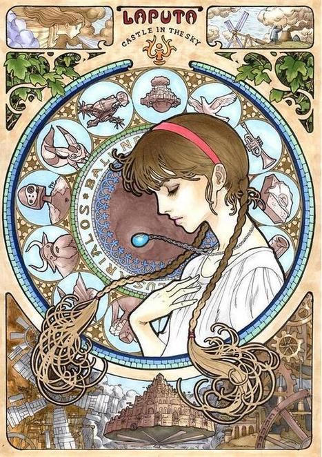 Twitter / takumitoxin: ラピュタのシータ。アルフォンス・ミュシャ風に描いてみた ht ... | アート/デザイン | Scoop.it