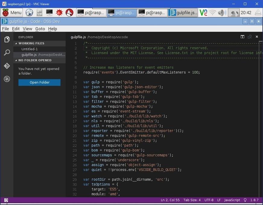 Building visual studio code on a raspberry pi