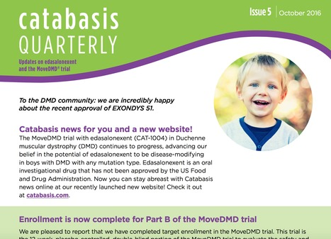 Catabasis Quarterly Update - October 2016 | Duchenne Muscular Dystrophy Research | Scoop.it