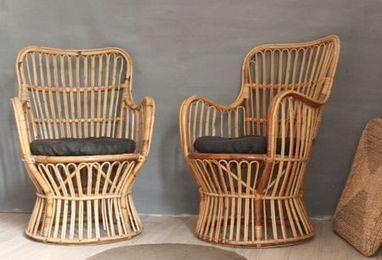 paire de fauteuils vintage en rotin trendy li. Black Bedroom Furniture Sets. Home Design Ideas