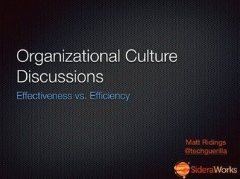 Organizational Culture Discussions: Effectiveness vs Efficiency - SideraWorks | Improving Organizational Effectiveness & Performance | Scoop.it