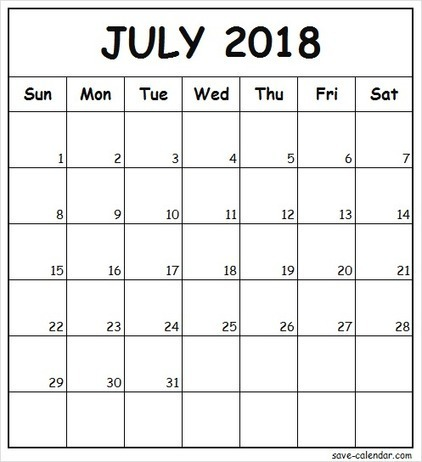 Editable July Calendar 2018 in SaveCalendar Scoopit
