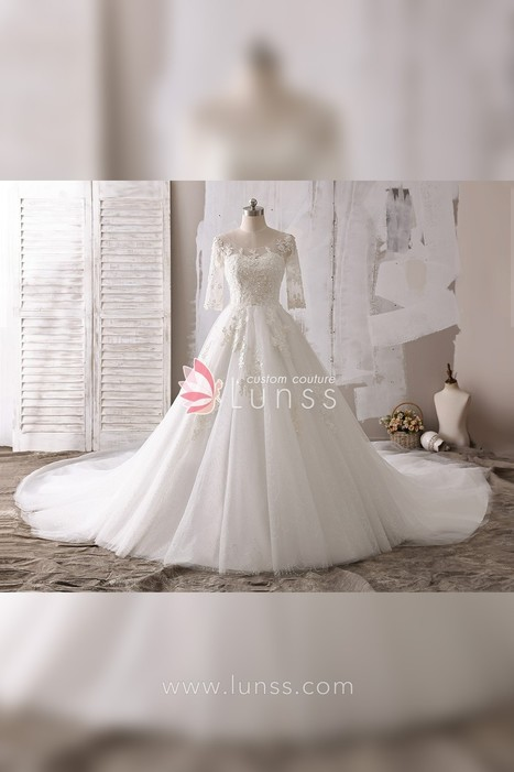 3d8dff73fe925 Classic Lace Appliqued Illusion Neckline Cathedral Train Ball Gown Ivory Wedding  Dress - Lunss Couture