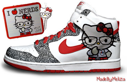 Nike High Hello Kitty Sb Dunk Glitter White Red  hello-kitty-shoes- e97af9246c