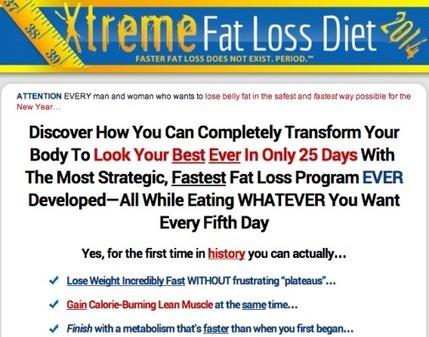 xtreme fat loss diet menu