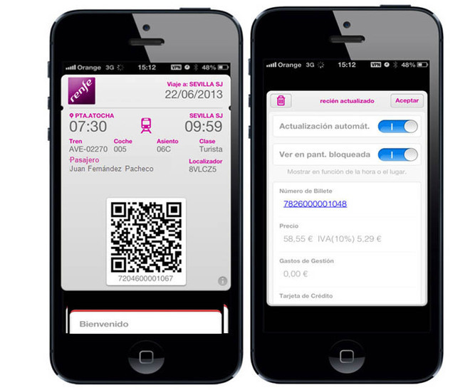 how to add renfe ticket to passbook