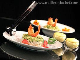 Tartare de saint-jacques et d'avocat, surmonté d'une tempura de gambas et accompagnés d'un espuma de mangue | Vins & Plaisirs | Scoop.it