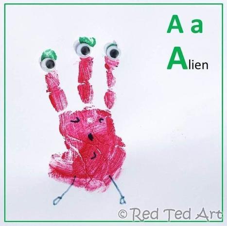 Red Ted Art's Blog » Blog Archive » Handprint Alphabet – A for Alien | Literacia no Jardim de Infância | Scoop.it