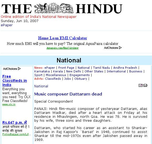 The Hindu : National : Music composer Dattaram