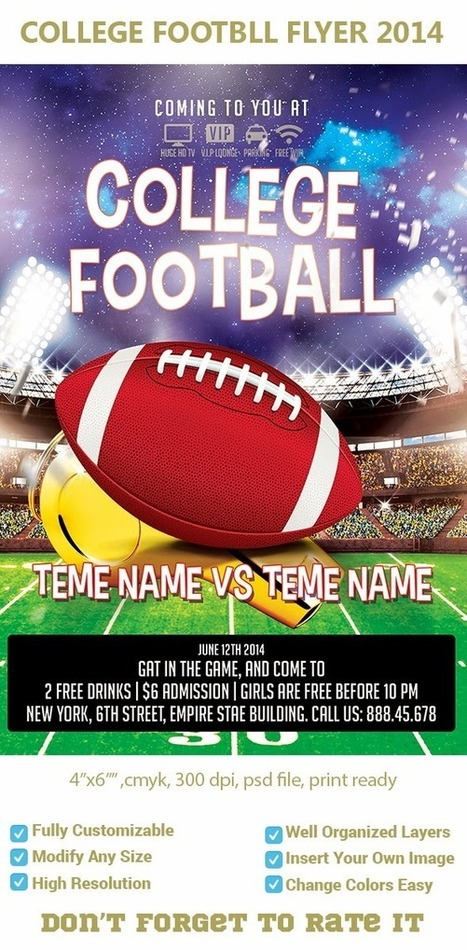 american college football night party flyer tem