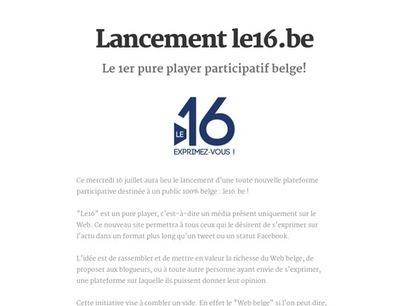 Lancement le16.be | Divers | Scoop.it