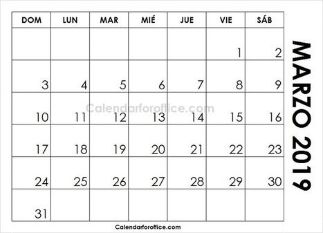 March 2019 Calendar Spanish Calendario 2018 Mensual Para Imprimir