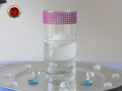 10 Hot Pink Rhinestone Cylinder Vases Wedding