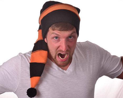 ba3c2f37df9 Orange Black Halloween Stocking Cap Long Beanie Hat Costume Mens Hat Womens  Hat