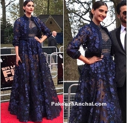 Sonam Kapoor in Midnight Blue Mesh Lace Outfit ... 6821d8868496