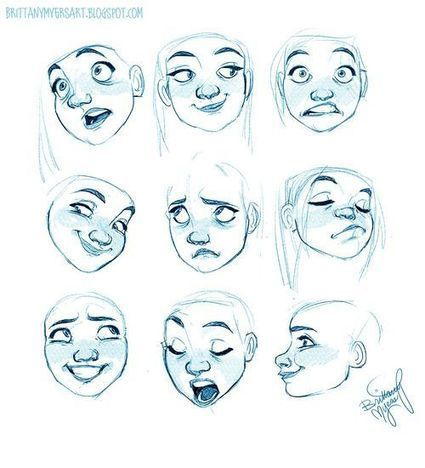 Carton Facial Expression Reference Guide Draw