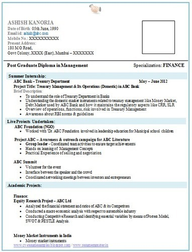 resume samples for mba freshers free download resume ixiplay
