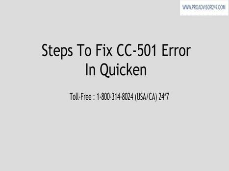 How To Fix Error CC-501 In Quicken ?   QuickenS...