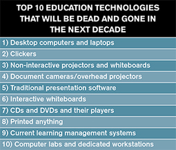 Top 10 Education Technologies that Will Be Dead and Gone in the Next Decade -- Campus Technology | Digital Learning - beyond eLearning and Blended Learning in Higher Education | Scoop.it